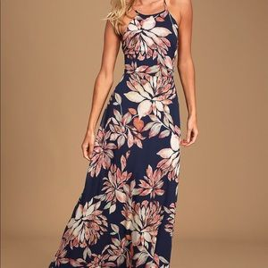 Navy Blue Floral Print Maxi Dress